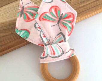 Butterfly Teether // Wooden Teething Ring // Bunny Ear Teether // Baby Shower Teether