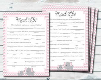Baby Shower Mad Libs Printable, Pink And Gray Elephant Mad Libs Printable, Mad Lib Baby, Elephant Baby Shower Games, Baby Advice Cards