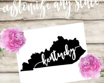 Kentucky Custom State Laptop / Phone / Car Decal