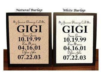 Christmas Gift for GIGI, Personalized Gift for Gigi, Christmas Gift Idea, My Greatest Blessings Call Me Gigi, Family Date Sign, Gigi Gift