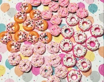 5pcs DIY Resin Kawaii Iced Pink Doughnut Cabochons Embelishments Smiley Donuts Cabochons Scrapbooking Hairbow Decoden Crafts You Pick Style