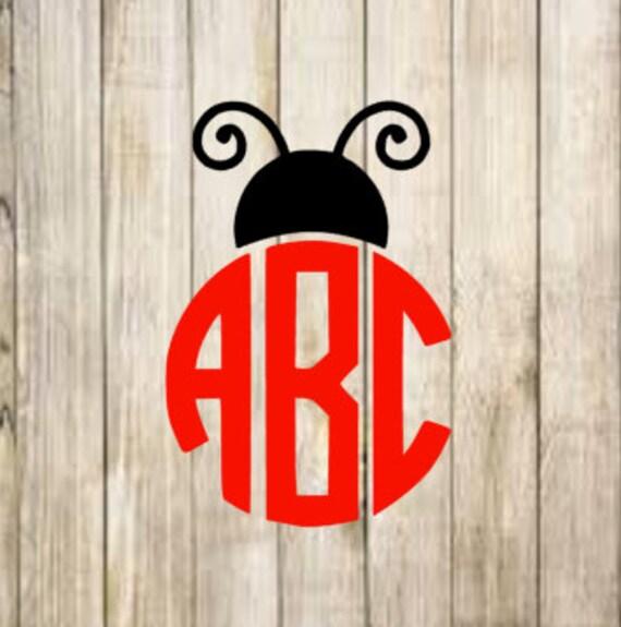 Lady Bug Monogram Iron on Decal/ Glitter or non- glitter Iron on Decal/ Girls Monogram Iron on/ DIY Lady Bug Monogram Shirt