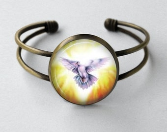 Catholic Jewelry - Cuff Bracelet - Holy Spirit Bracelet