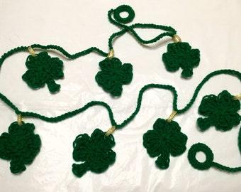 Shamrock Garland, Crochet Shamrock Garland, Shamrock Bunting, St. Patrick's Garland