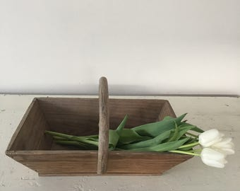 Vintage French wooden trug-picking basket