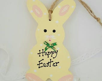 Handpainted easter gift. Happy Easter. Easter bunny. Hanging tag. Bunny plaque. Easter rabbit. Paibted rabbit. Childs Easter gift. Easter