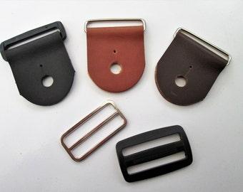 Guitar Strap Kits, Black,Tan or Brown Leather Guitar Tabs, New! Nickel or Black Acetate Hardware