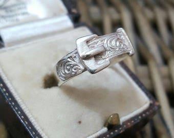 Vintage solid silver buckle ring, art nouveau design, size r1/2