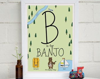 Personalised Woodland Alphabet The Letter B | Unique New Baby Gift | B Is For | Name Print | Nursery Print A4 | Personalised | Gift Idea