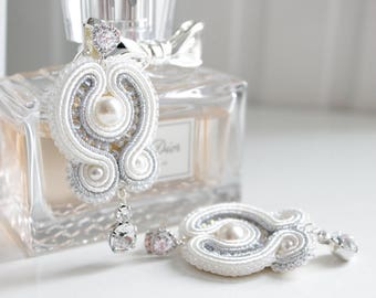 Bridal white soutache earrings with Swarovski crystals. Handmade. Customization available