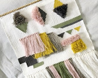 Handmade Woven Wall Hanging || Linen Geometric Weaving