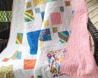 """Large baby/toddler quilt, silly squares, pink, blue, yellow, green, orange 61"""" x 64"""""""