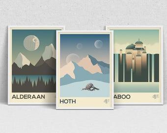 STAR WARS PLANETS - A2 print set - movie posters, wall art, modern print, minimalist