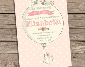 Bunny Baby Shower Invitation, Pink Polka Dots Baby Shower Invitation, Itu0027s  A Girl Invitation