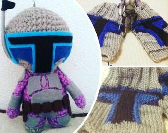 Toy Jango Fett, mittens, Star Wars, superheroes, actionfigure, knitted fingerless gloves, fantasy,souvenir, amigurumi, toy, gift, handmade