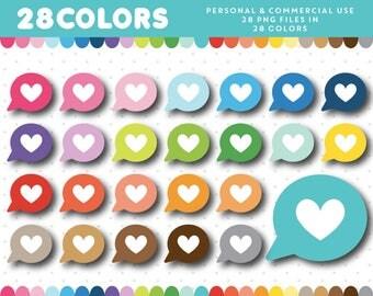 Heart Speech Bubble clipart, Love Message clipart, Heart icon, Heart Speech Bubble graphics label, Collage, Scrapbooking, CL-1404