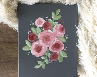 Custom Floral Painting | 8 x 10 Original Acrylic Painting | Wrapped Canvas