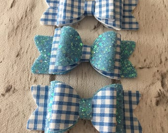 School hair bow, summer hair bows, school hair accessories, gingham bow