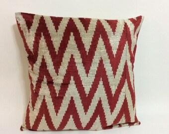 Red Ikat Velvet Chevron Pillow - 20'' x 20'' Ikat Pillows Red Chevron Pillow Chevron Pillow Decorative Throw Red Ikat Pillow Zigzag Pillow