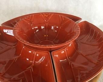vintage burnt orange stylized tulip lazy susan calif usa l59