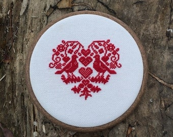 Red Heart Two Lovers Dove Finished cross stitch picture   Wall Decor Love Symbols Presents Wedding gift
