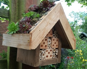 Handmade Green Roof Bughouse for Solitary Bees