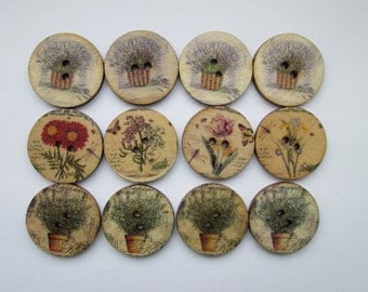 Flowers Lavender Rosemary 12 wooden buttons in the set 25 mm Ø