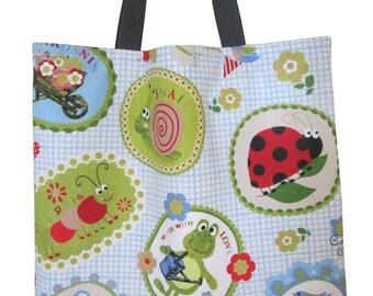 Children shopping bag carrying case tote bag kindergarten Blue Frog beetles