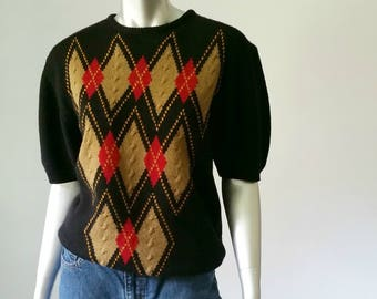 Argyle Sweater | 80s Sweater | Oversized Sweater | Slouchy Sweater | Preppy Clothing |