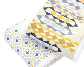 Graham's Golden Baby Boy Burp Set | Gray, Yellow, Aztec, Tribal, Golden Baby Burp Set