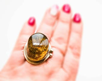 Vintage Silver Baltic Amber ring
