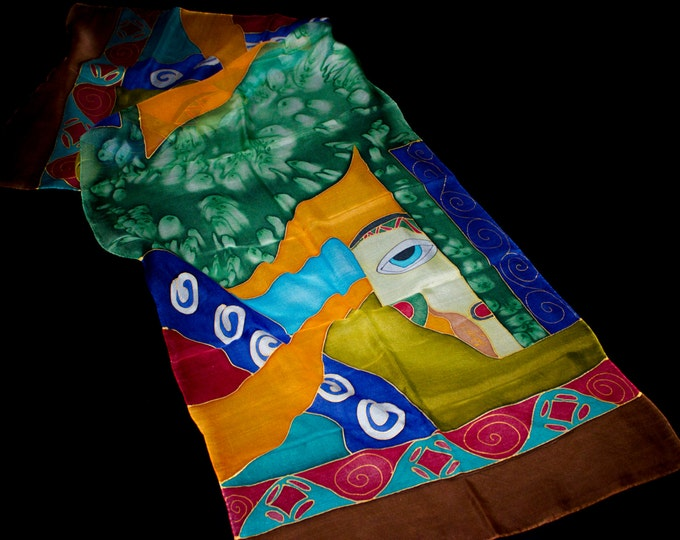 Hand Painted Silk Scarf - Batik Gift for Her - Armenian Handmade - Face