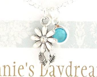 Daisy Necklace -  Daisy Jewellery - Daisy Birthstone Pendant - Silver Daisy Necklace - Birthstone Necklace