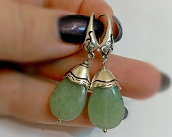 Green jade earrings, green earrings