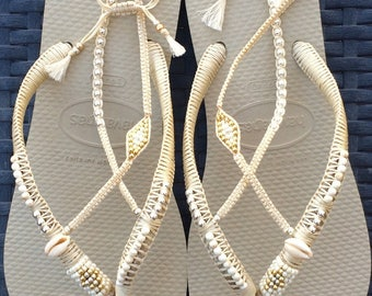 Silver & Gold Wedding Decorated Flip Flop, Sandals Flat Thong Slippers based on Cream Havaianas, Wedding Sandals, Comfortable Wedding Shoe
