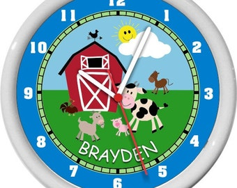 Boy Farm Animals Nursery Wall Clock Personalized
