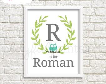 Custom Owl Monogram Print, 8x10, Digital Download, Printable