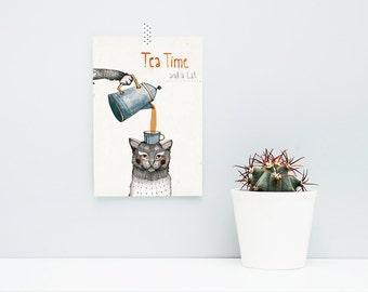 """Tea And A Cat / A5 (5"""" x 8"""") Artprint, Print, Poster, Cat, Tea"""
