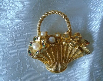basket shaped brooch gold tone metal faux pearl and stones
