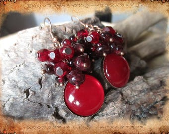 Earrings cluster, ethnic or Bohemians, Garnet and Red facets of Bohemia