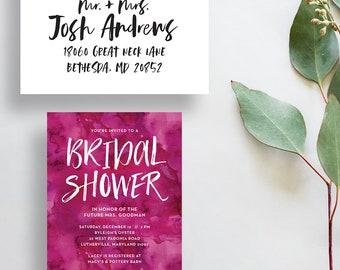 watercolor bridal shower invitations // magenta bridal shower invite // hot pink watercolor party invite // PRINTED invites // custom