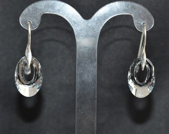 Earrings silver 925 and Helios crystal of Swarovski light comet silver
