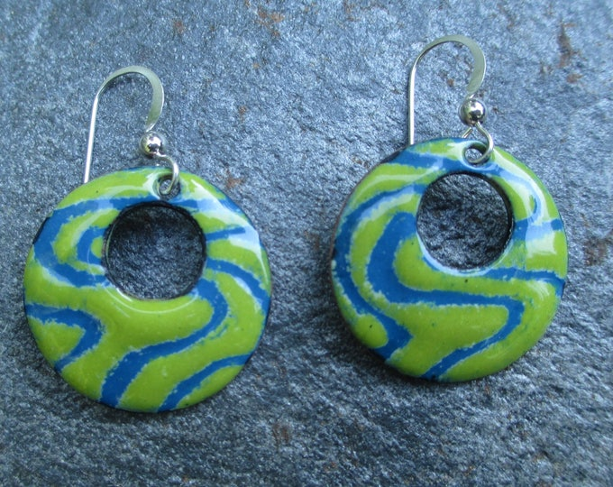 bitter apple green and blue swirl sgraffito enamel hoop earrings with sterling silver ear wires