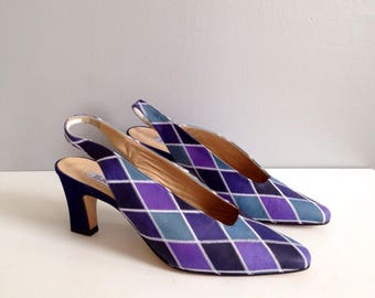 BALLY France pumps Sandals vintage 80 s leather and suede diamond blue and purple - new - 40