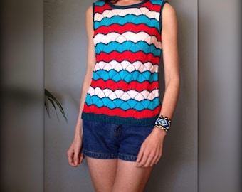 High top tank top pullover sleeveless vintage 70 s in blue and Red hook (S-36/38)