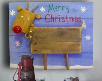 Reindeer Signs - Merry Christmas Signs - Christmas Reindeer - Reindeer Decor - Christmas Decor - Rustic - Pallet Wood Sign - Christmas Gift