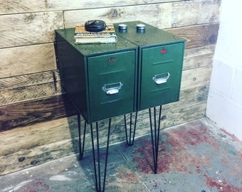 Side Table - Upcycled Side Table Handmade from Salvaged  Filing Cabinets with Hairpin Legs - Unique home Decor Gift