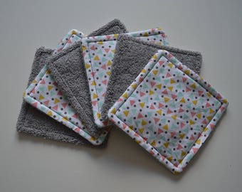 Lot of 6 washable wipes square gray multicolored triangle