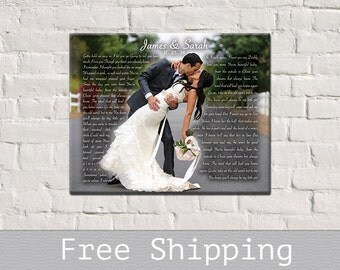 1st Anniversary Gift - Wedding First Dance Song Lyrics - Song Lyrics Art - Anniversary Gift - Canvas Print - Free Shipping