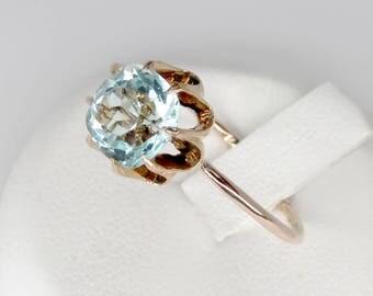 rose gold aquamarine ring, aquamarine ring, art nouveau ring, antique aquamarine ring, aquamarine engagement ring, aquamarine solitaire ring